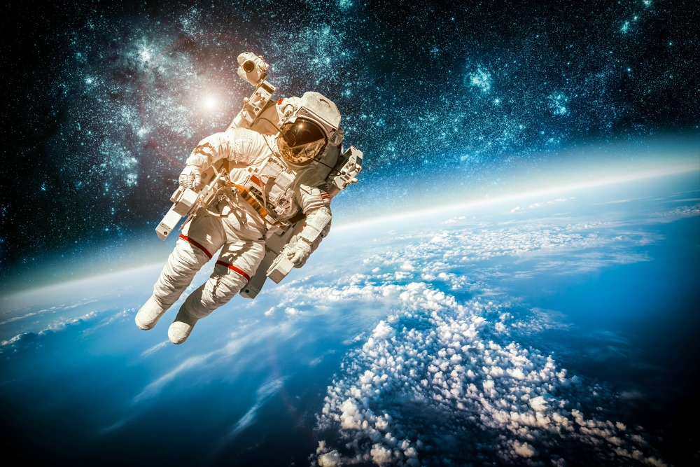 an astronaut in space will observe the sky as -#main